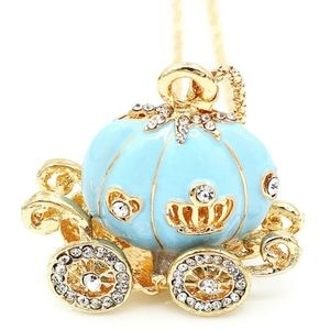 Betsey Johnson Blue Carriage Pendant / Necklace